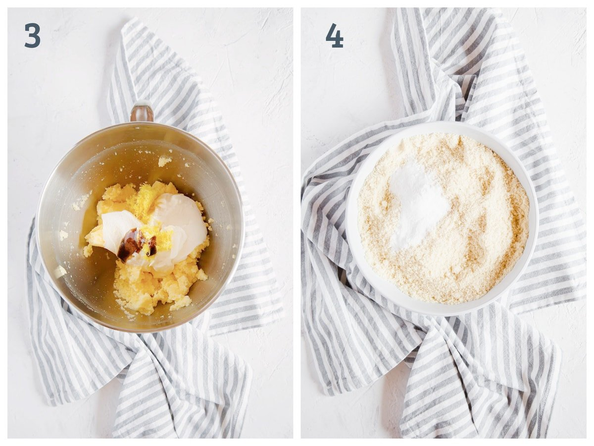 2 images side by side. The first one is sweetener, butter, eggs, ricotta, lemon and vanilla in a mixing bowl. The second is a bowl of almond flour and baking powder