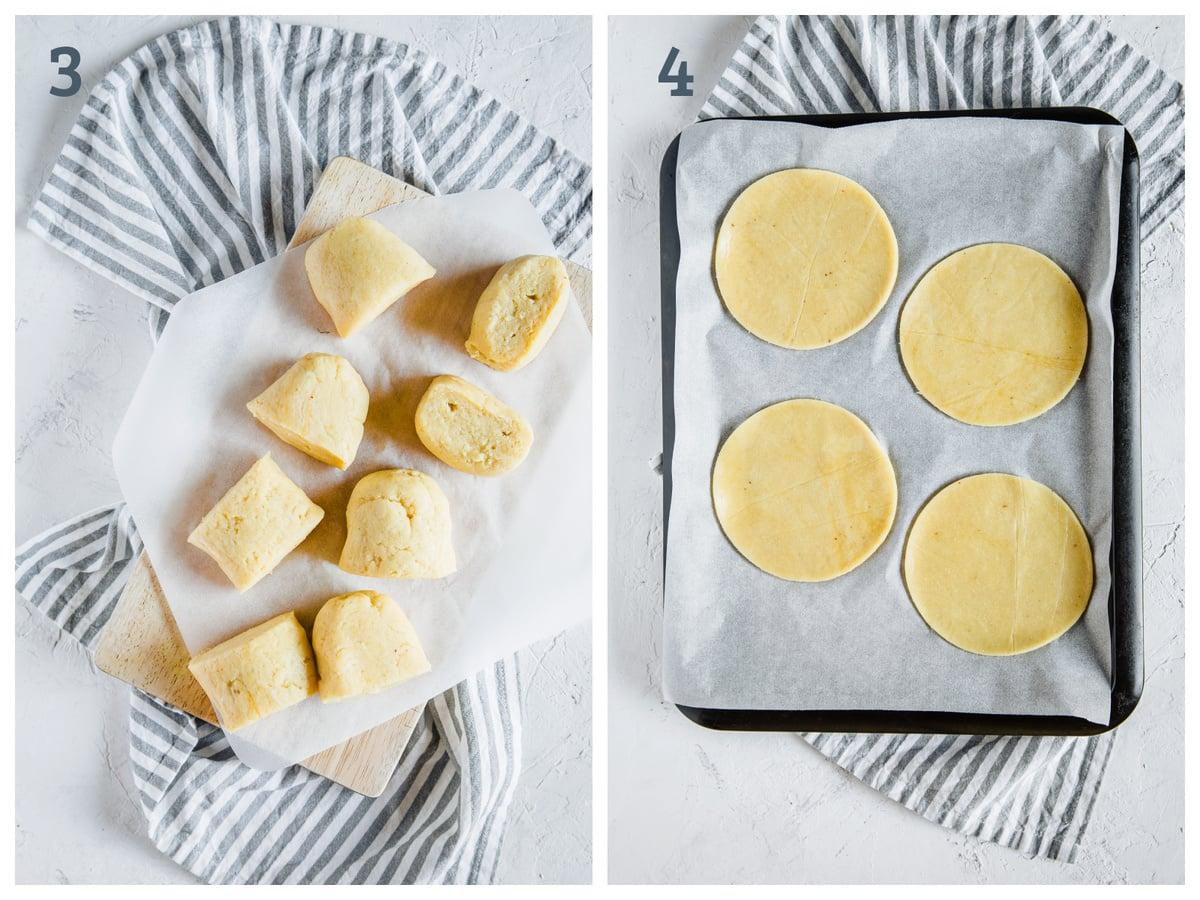 Left - 8 balls of fathead dough on parchment paper. Right - 4 balls of fathead dough flattened and formed into circles.