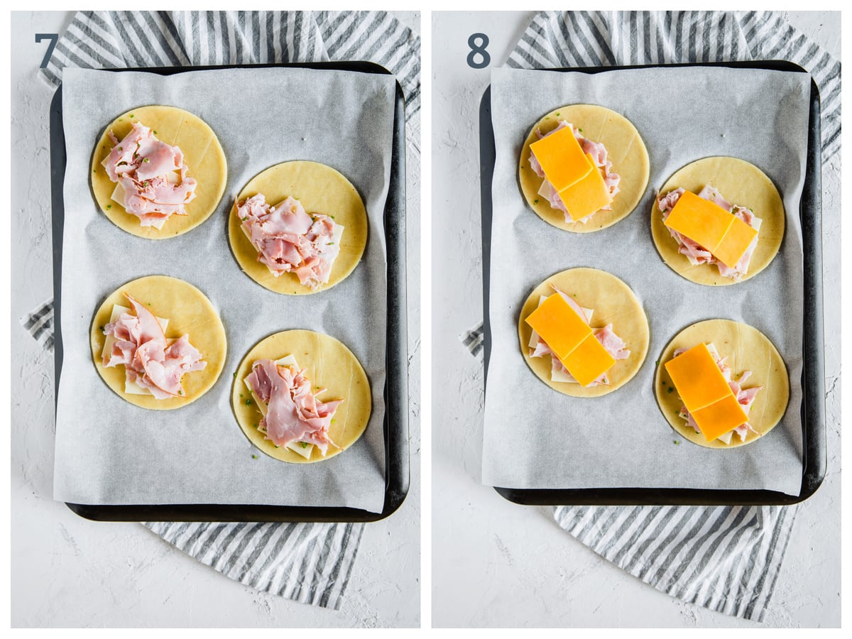 Left - fathead dough rounds topped with ham. Right - fathead dough rounds topped with ham, cheddar gouda and chives