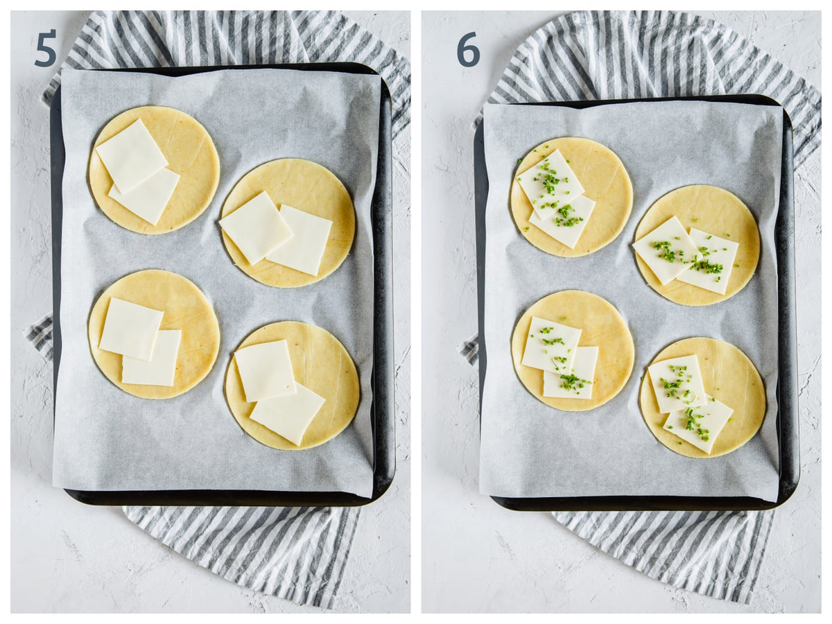 Left - fathead dough rounds topped with gouda cheese. Right - fathead dough rounds topped with gouda and chives