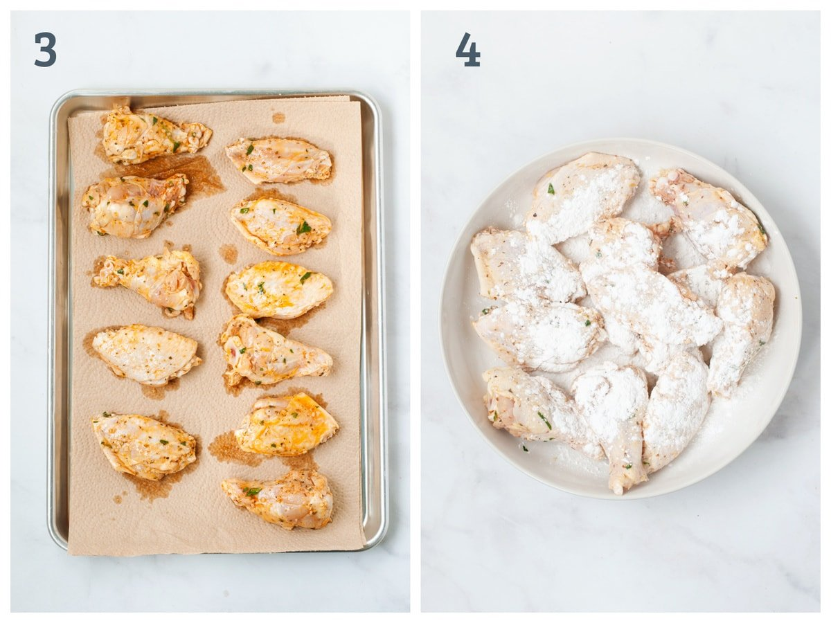 Left - marinated wings drying on paper towels. Right - raw wings coated in baking powder