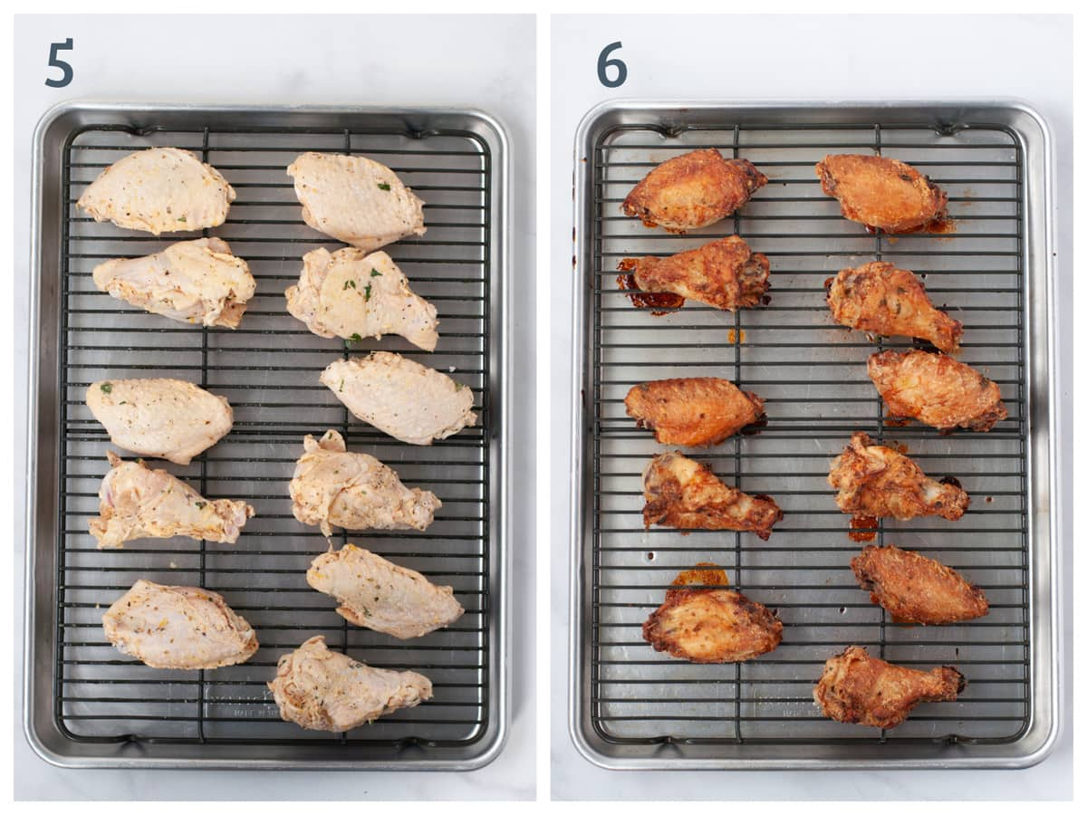 Left - a tray of wings ready to go in the oven Right - a tray of crispy wings, fresh out of the oven