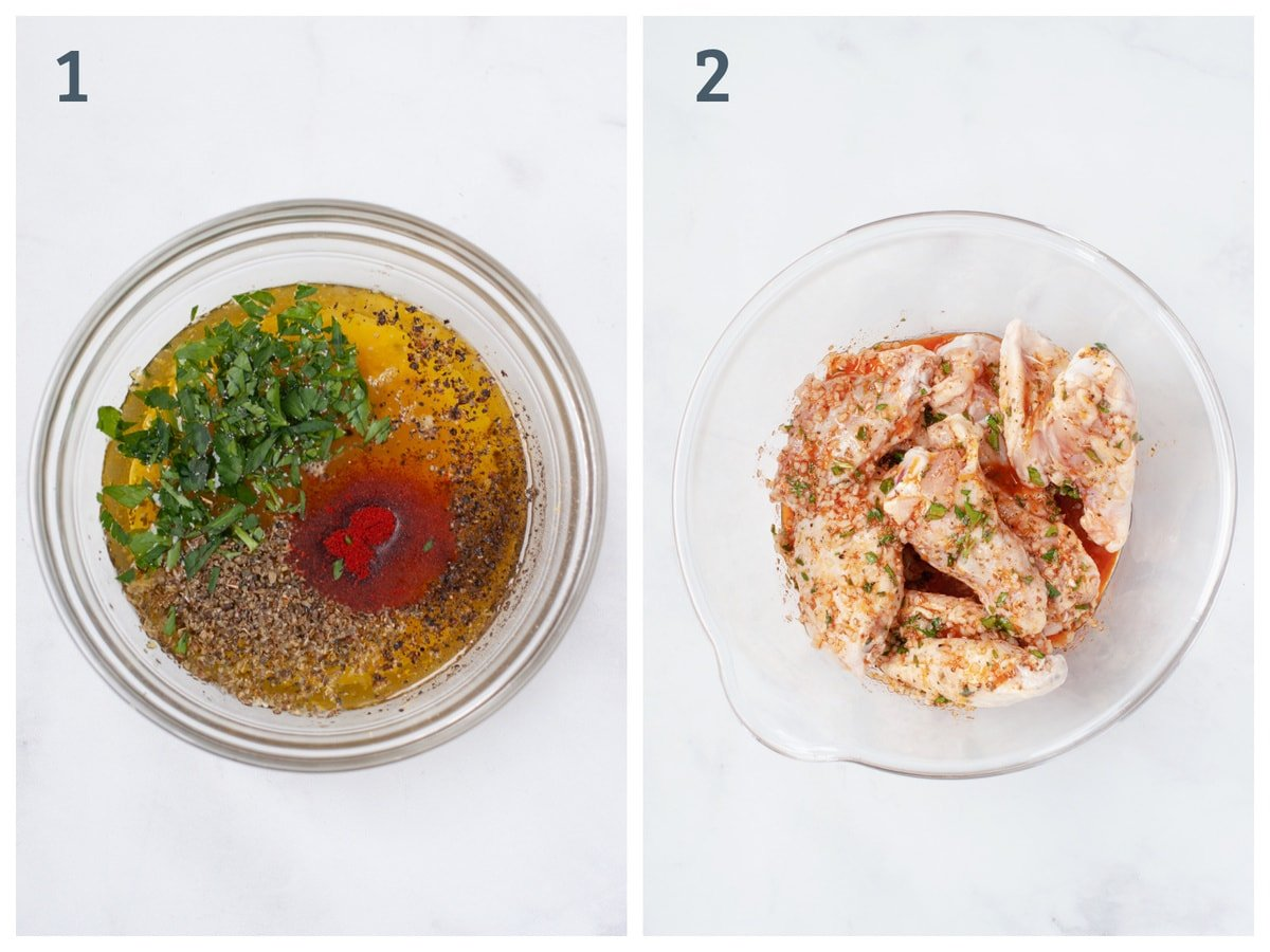 Left - olive oil, parsley, lemon, and spices in a bowl. Right - Same bowl, but with chicken wings tossed in