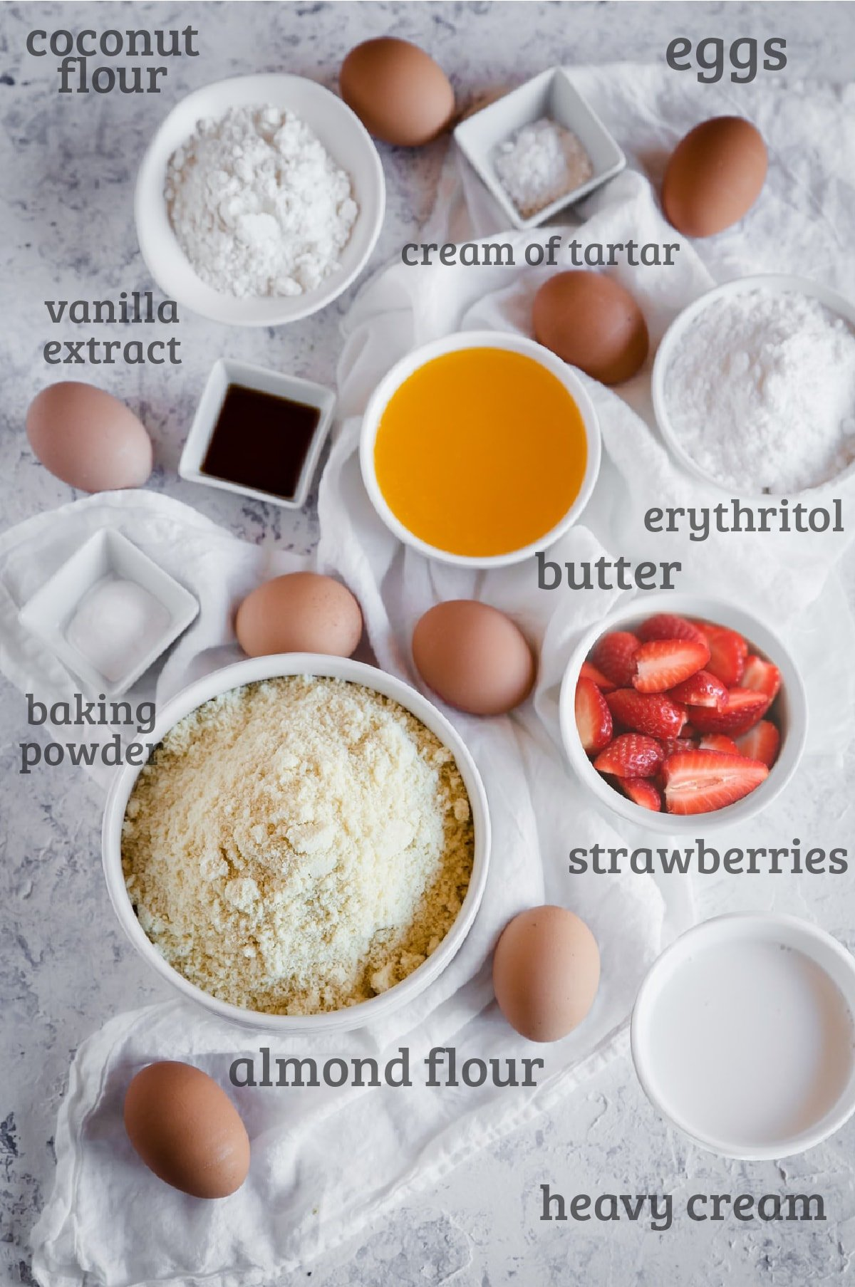 Ingredients for gluten free strawberry shortcake - eggs, butter, almond flour, sweetener, strawberries, heavy cream, vanilla,