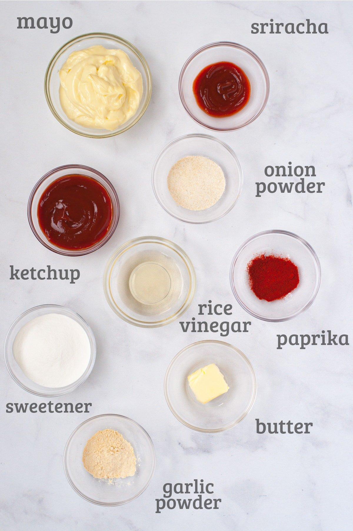 Ingredients for keto yum yum sauce - ketchup, mayo, paprika, butter, sweetener, garlic, onion, vinegar