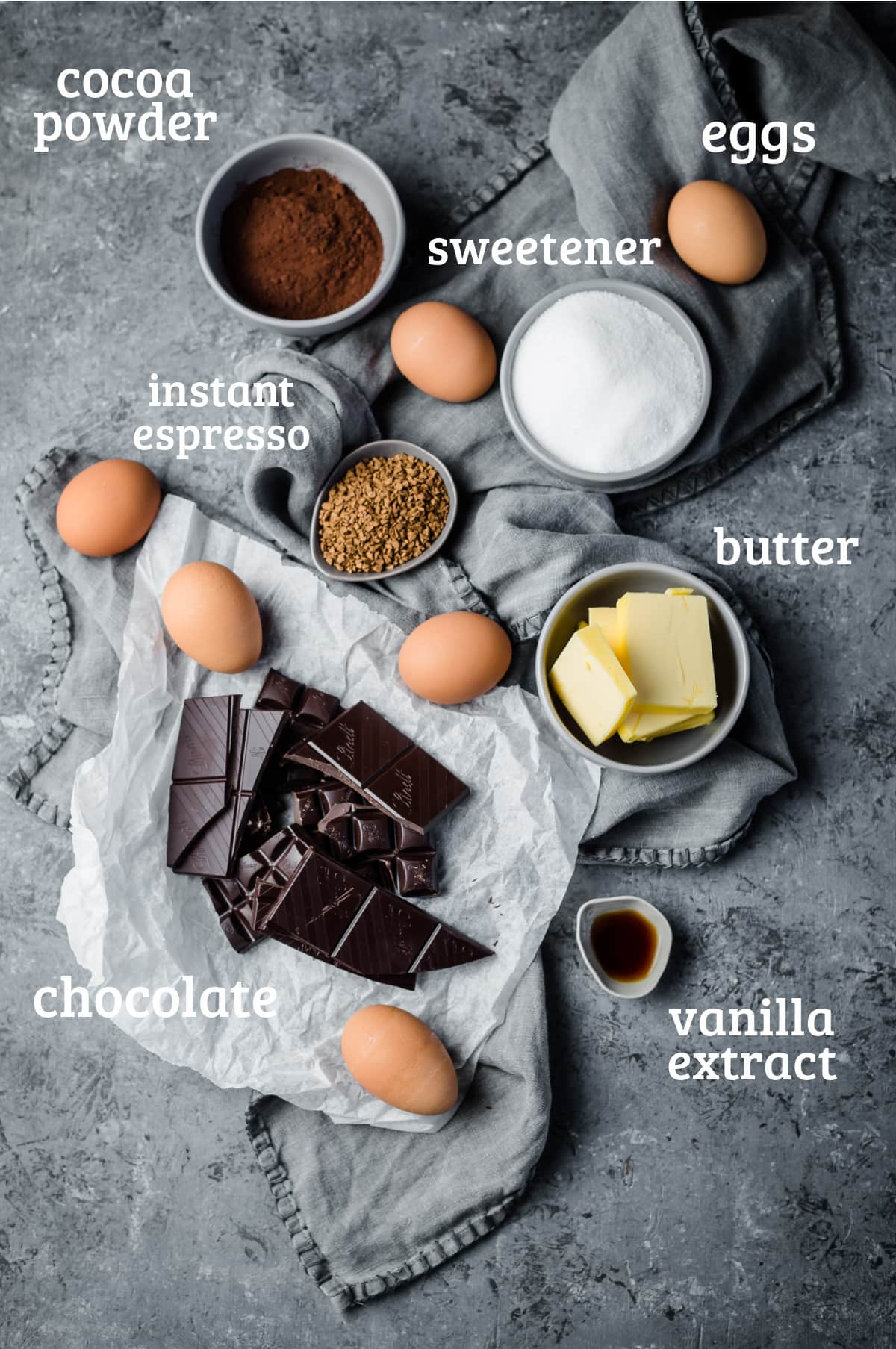 ingredients for a keto flourless chocolate cake - cocoa, eggs, sweetener, butter, vanilla, and espresso