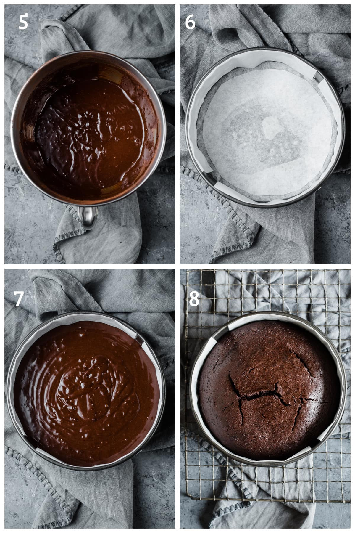 flourless chocolate cake batter being poured in a springform pan, baked and then cooled on a cooling rack