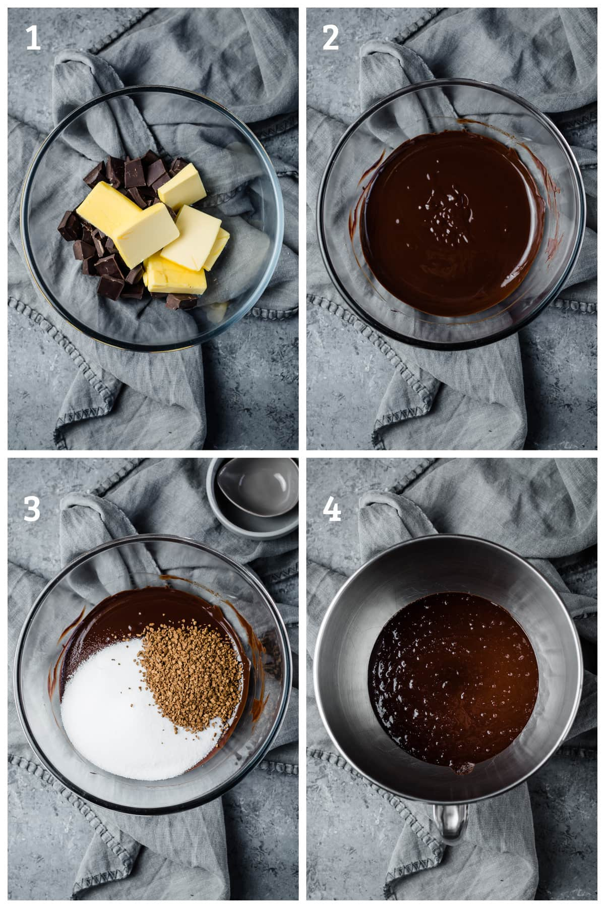 flourless cake batter being made and mixed in a mixing bowl - melted chocolate, butter, sweetener, vanilla