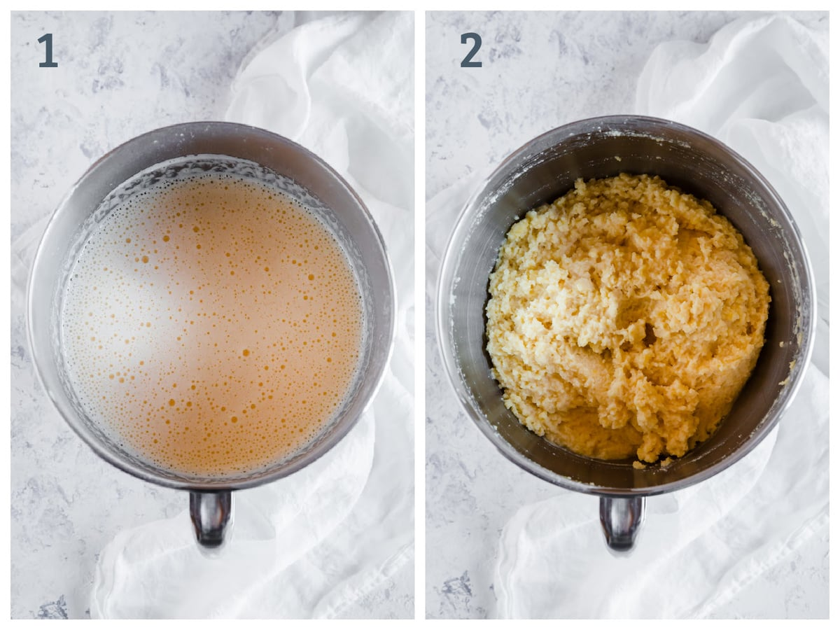 Left- bowl with eggs, cream of tartar, sweetener whipped together. Right - almond flour, coconut flour, and baking powder added