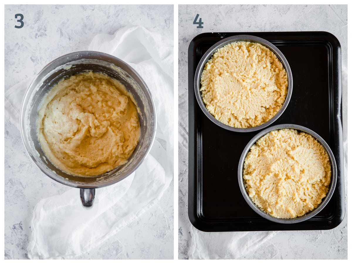 Left - gluten free shortcake batter in a mixing bowl. Right - batter divided between two cake pans