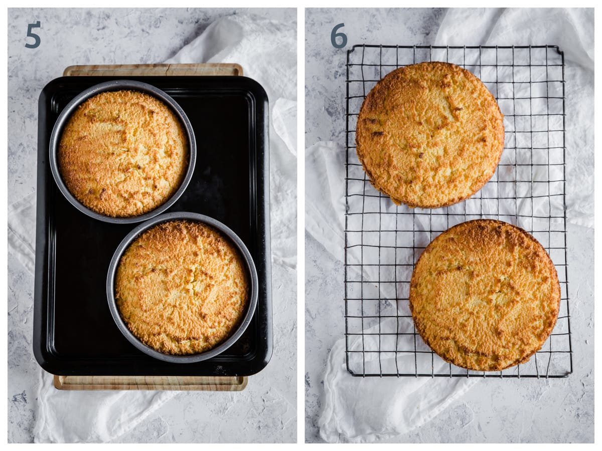 Left - 2 gluten free cakes cooling in cake pans. Right - 2 cakes on a cooling rack