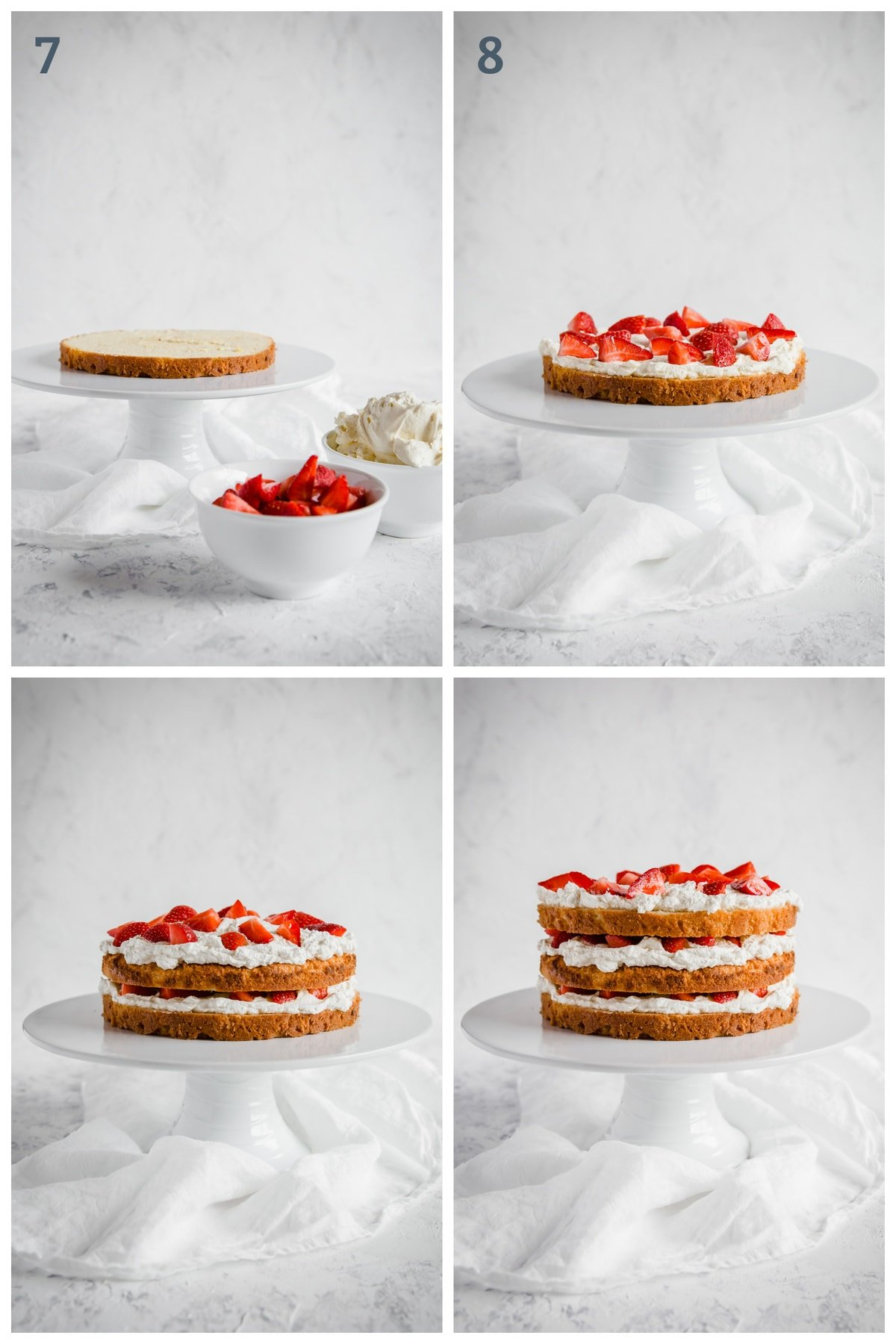 strawberry shortcake being stacked layer by layer with cake, fresh whipped cream and strawberries
