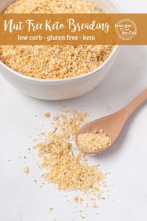 a mixing bowl with crushed pork rinds, parmesan cheese, garlic powder, onion powder, and Italian seasoning