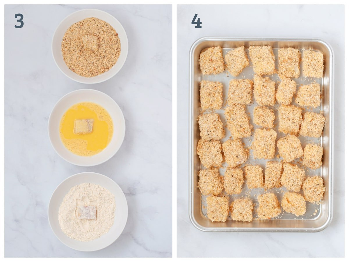 Bowls of breading, egg wash, and coconut flour next to breaded cod