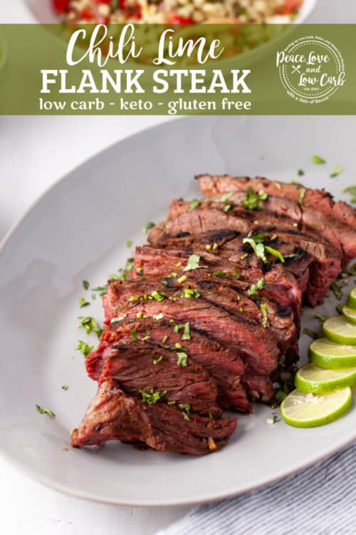 grilled flank steak sliced against the grain and served with limes and cilantro