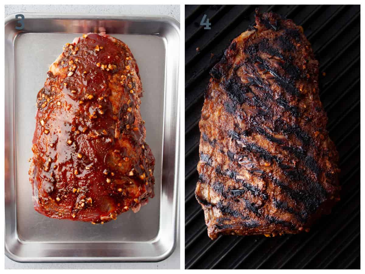 chili lime marinated flank steak ready to be grilled. Before and after of cooking