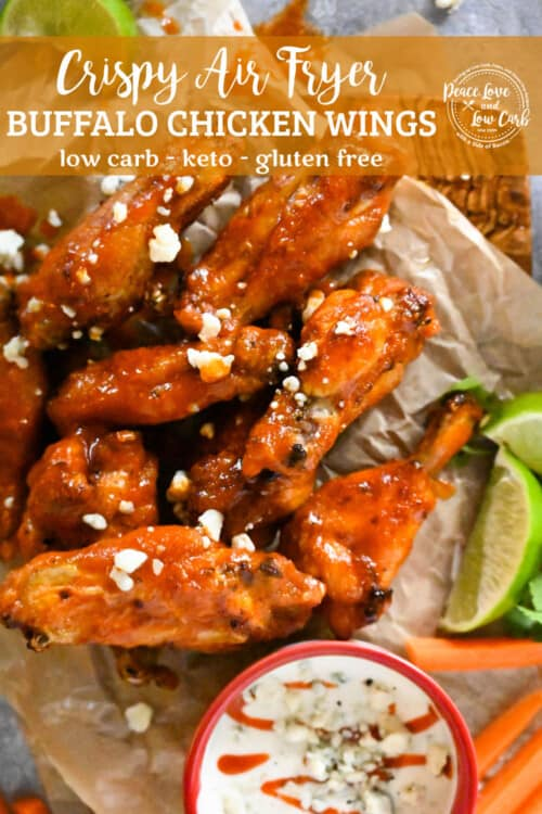 Air Fried Chicken Wings served with blue cheese, ranch, carrots, and limes