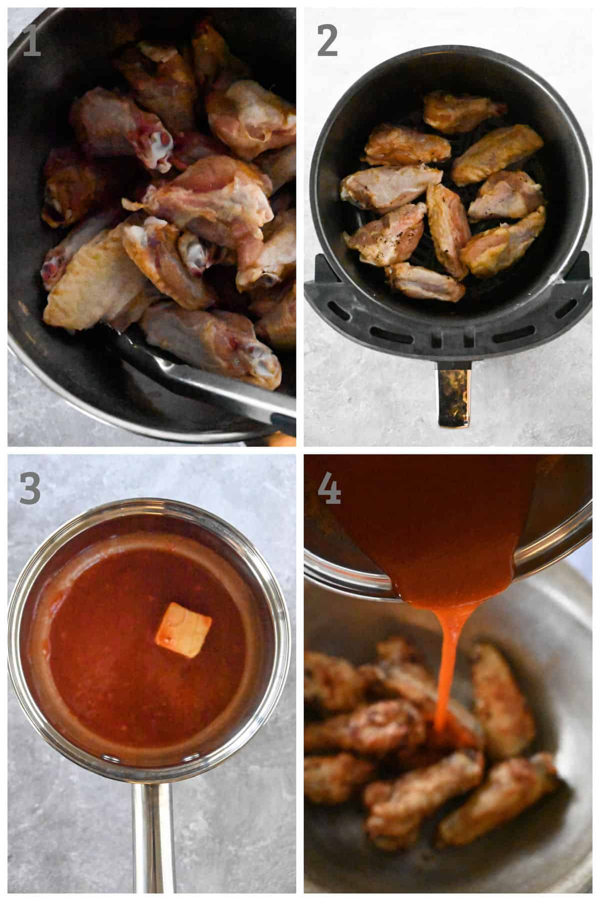 step by step instructions for making chicken wings in an air fryer