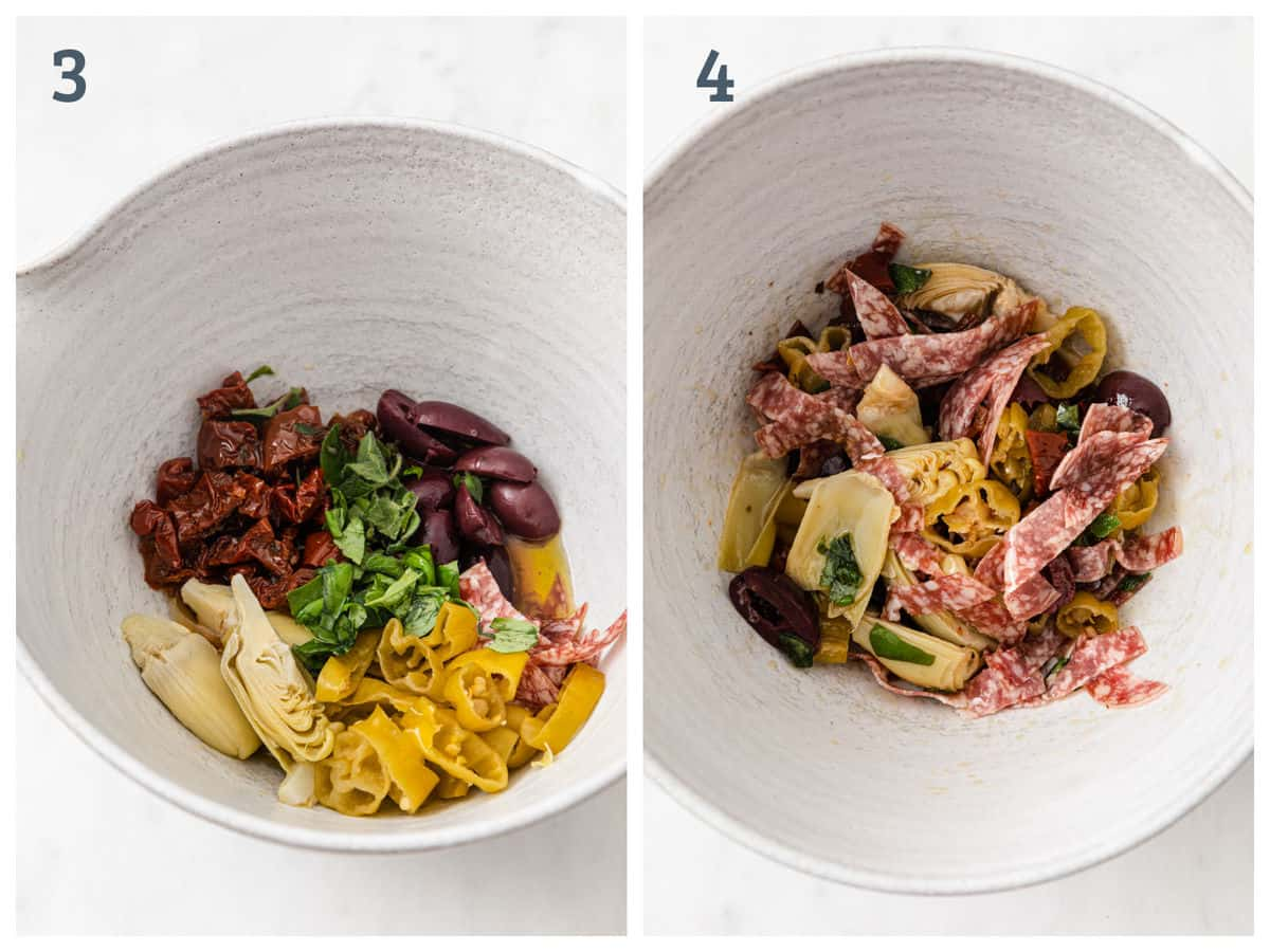 Step by step instructions for how to cook antipasto chicken