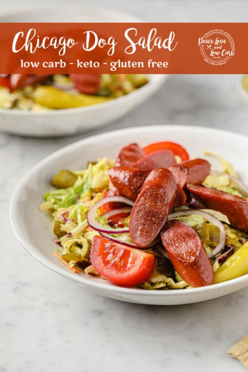 a salad piled high with grilled hot dogs, pickles, red onion, peppers, tomatoes, and a mustard dressing