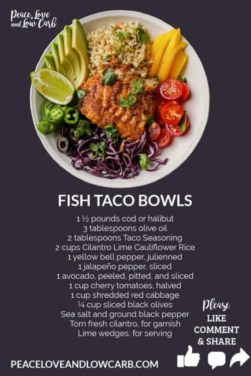 Recipe card graphic for how to make low carb taco bowls