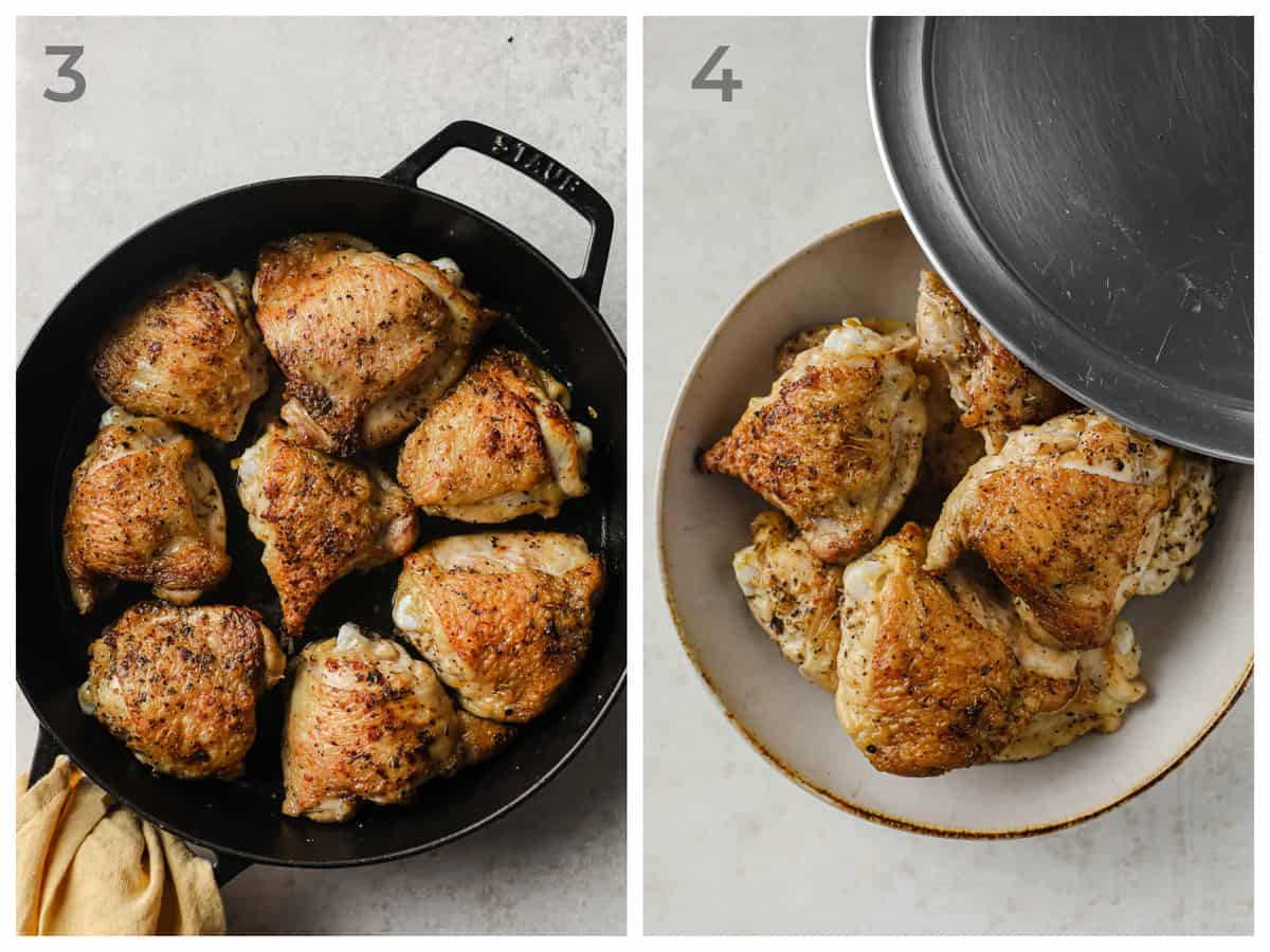 Left - crispy chicken thighs in a skillet - Right Crispy chicken thighs in a serving bowl