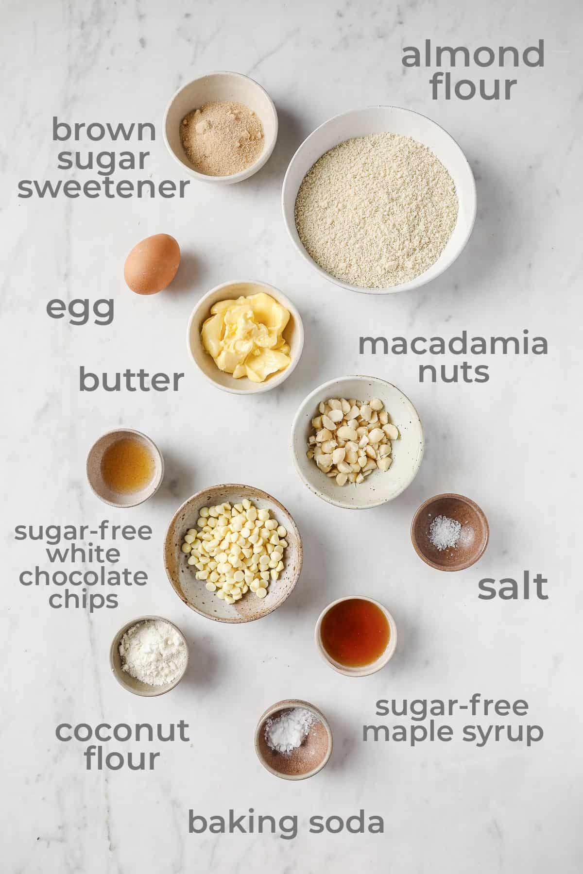 Ingredients laid out to make Keto White Chocolate Macadamia Nut Cookies