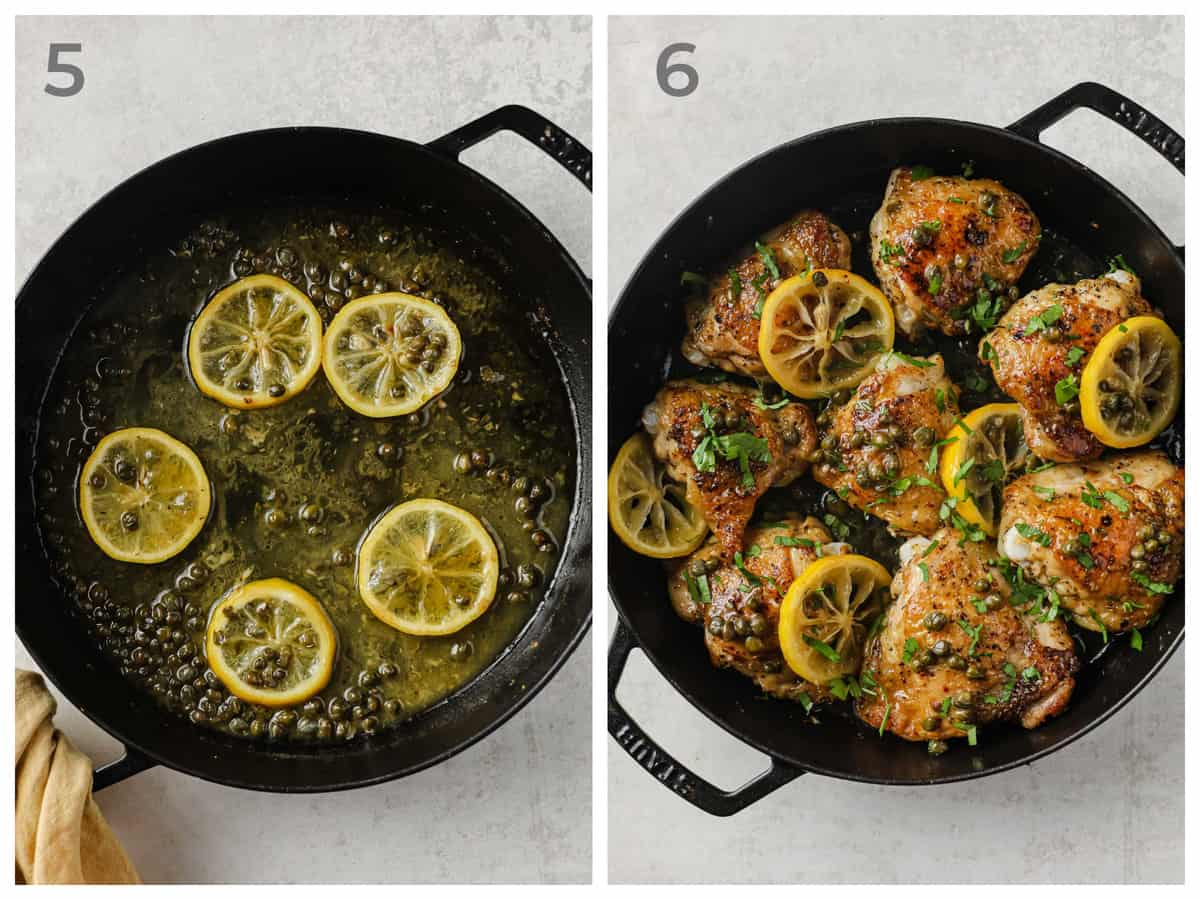 Left - skillet with melted butter, lemon, and capers - Right - skillet with Crispy Chicken Piccata