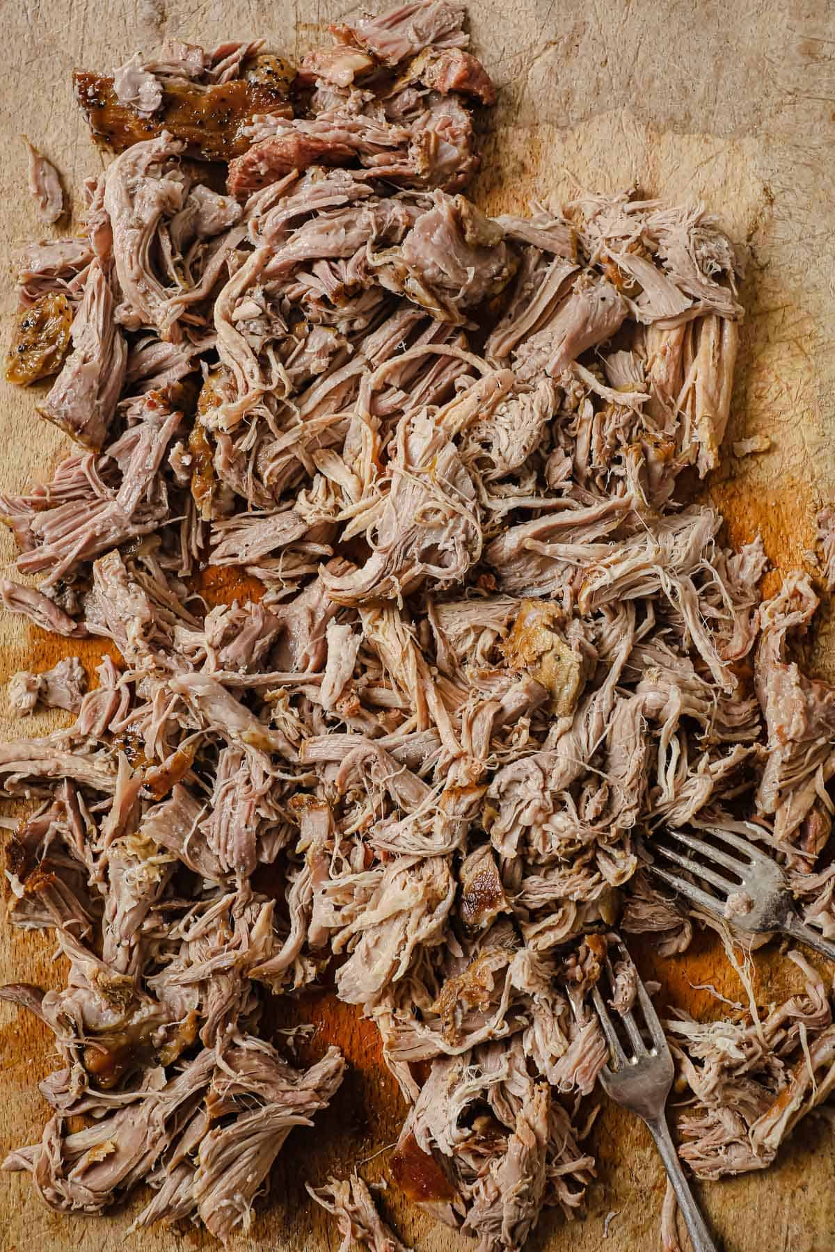 cooked pork shoulder, shredded with 2 forks, on a wooden cutting board