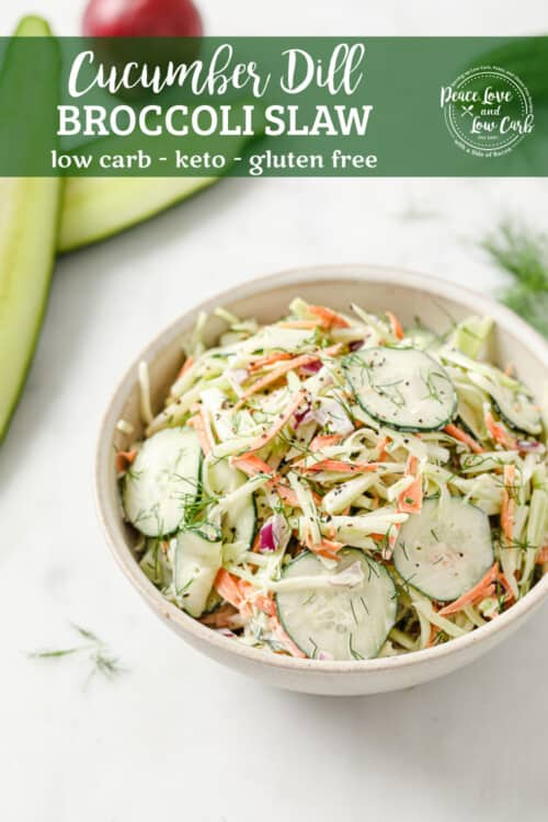a bowl of whole30 coleslaw with broccoli slaw, cucumber, mayo, red onion, dill, garlic, salt and pepper
