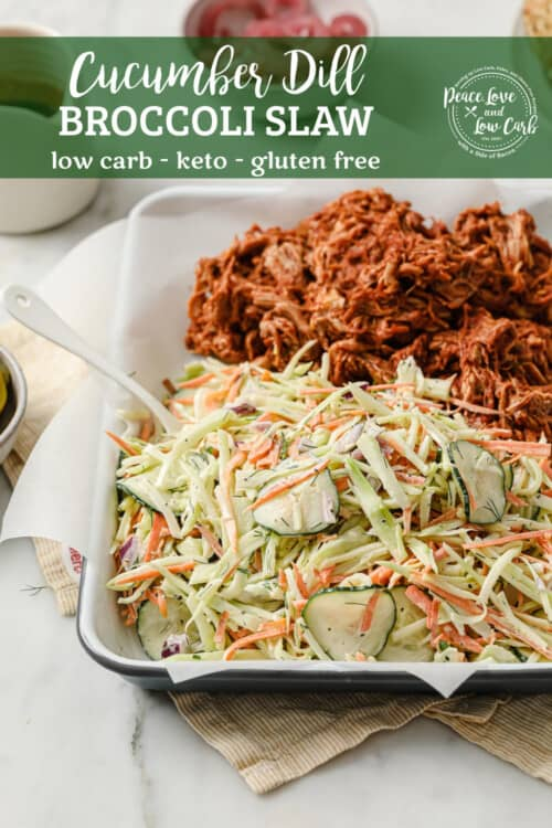 a tray of cucumber dill broccoli slaw, plated with slow cooker keto barbecue pulled pork