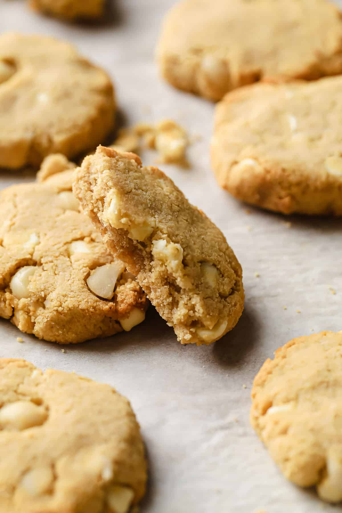 keto white chocolate macadamia nut cookies fresh out of the oven