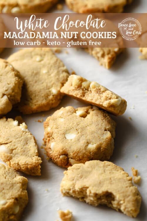 keto white chocolate macadamia nut cookies fresh out of the oven with a cold glass of milk