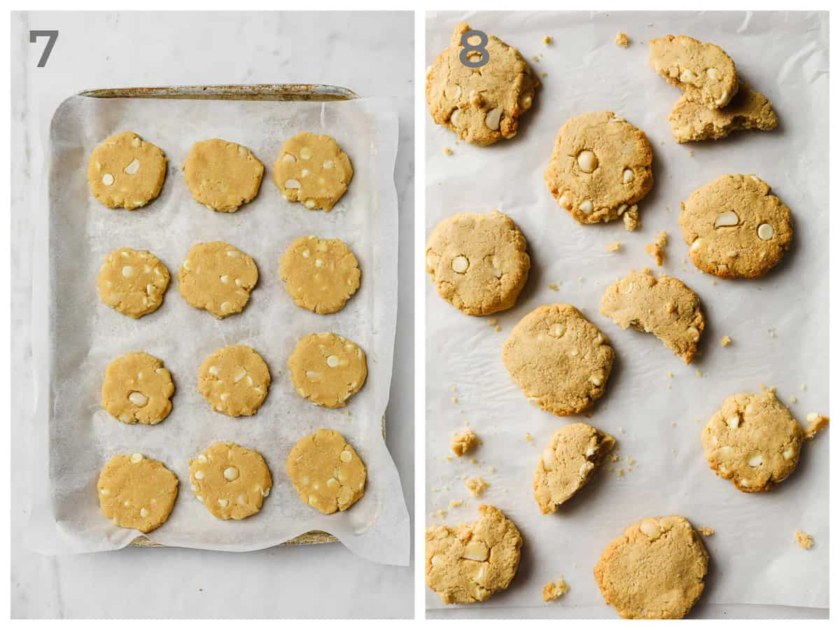Left - unbaked cookies on a baking sheet, ready to go in the oven - Right - low carb cookies fresh out of the oven