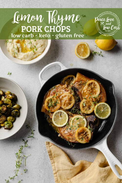 pan-seared pork chops with a lemon thyme pan sauce, served with cauliflower mash and brussels sprouts