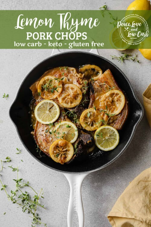 cast iron skillet with pork chops, fresh lemons, thyme, and pan sauce