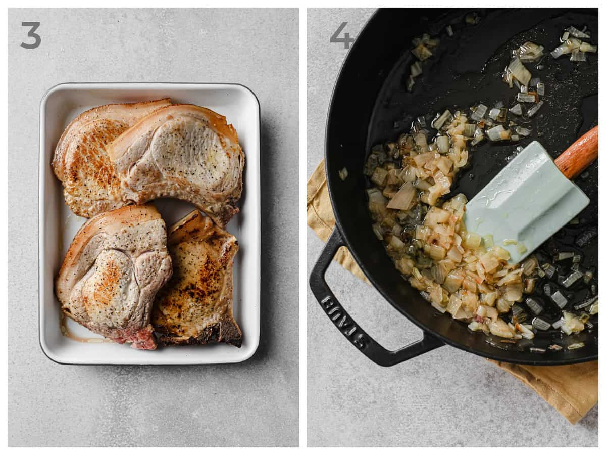 Left - cooked pork chops on a plate - right - skillet with sauteed shallots