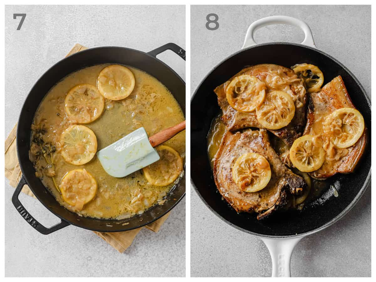 skillet with pan sauce - lemon, thyme butter, chicken stock