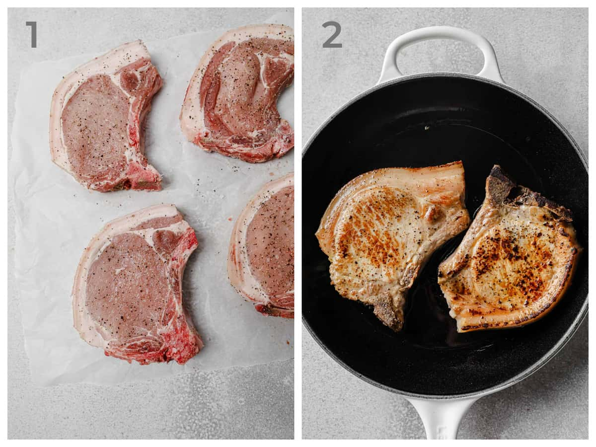 Left - raw pork chops seasoned with salt and pepper - Right - pan-seared pork chops
