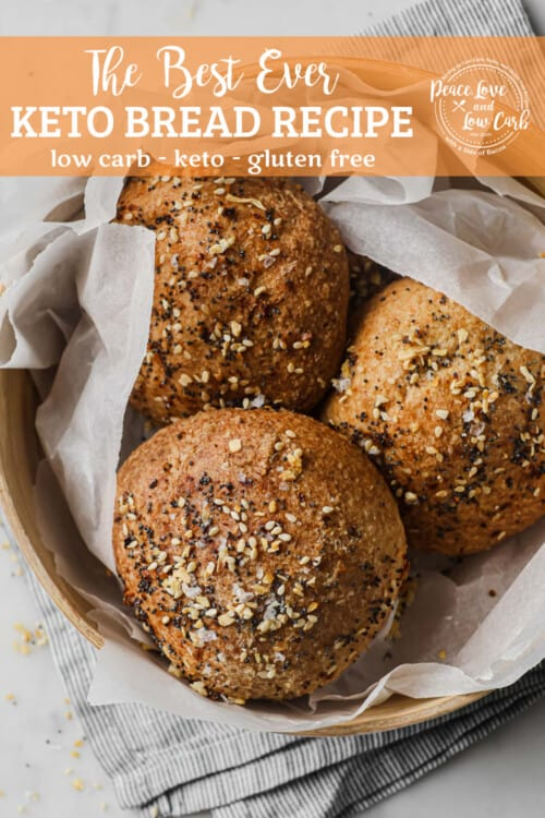 low carb sandwich rolls topped with everything bagel seasoning in a basket lined with parchment paper