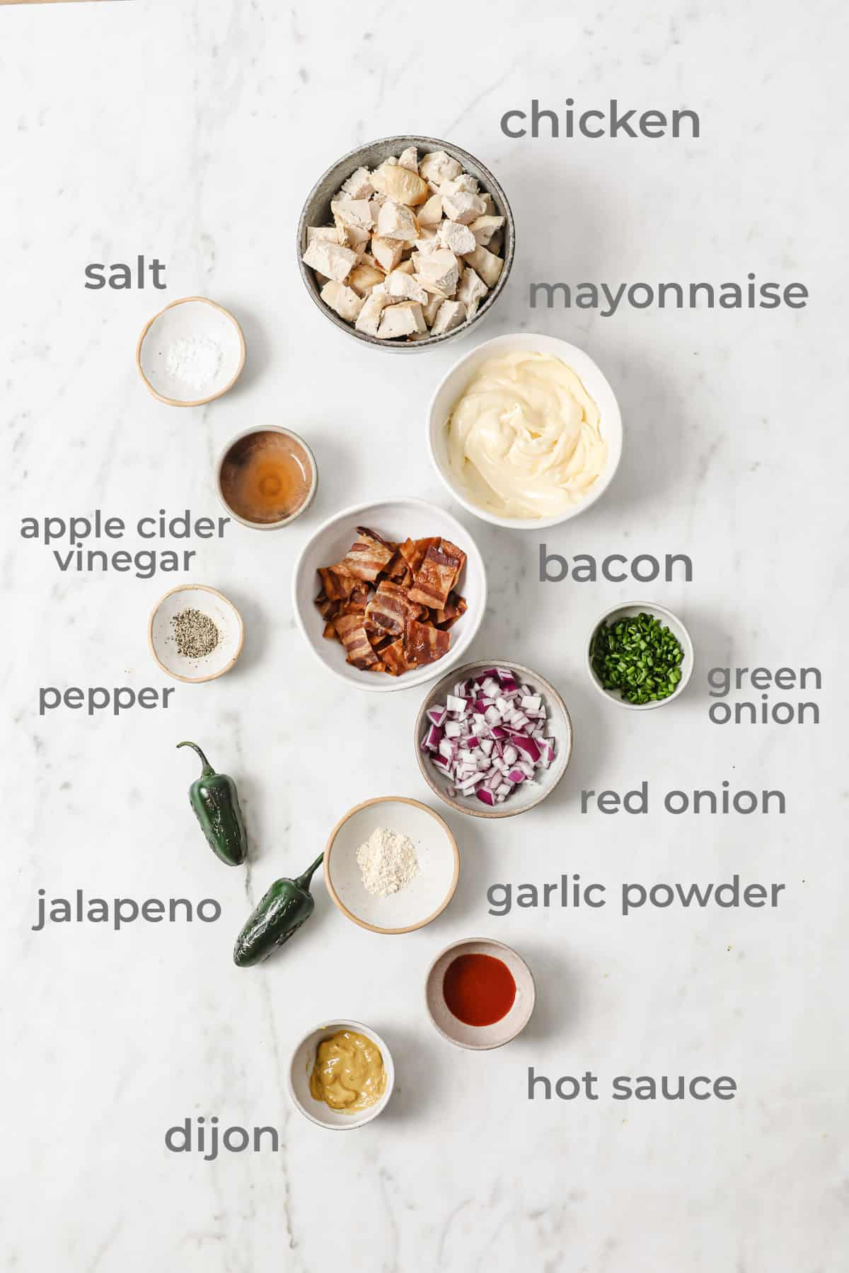ingredients for chicken salad - chicken, jalapeño, red onion, bacon, mayo, green onion