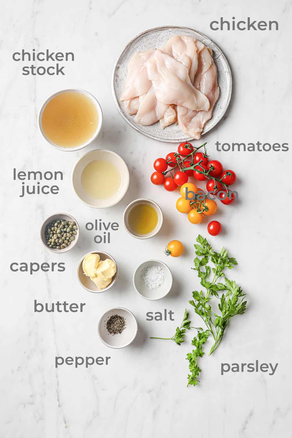 Ingredients for Keto Chicken Scallopini - chicken capers, lemon juice, tomatoes, parsley, salt, pepper, chicken stock